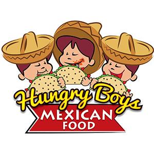 Hungry Boys Logo of three boys eating tacos